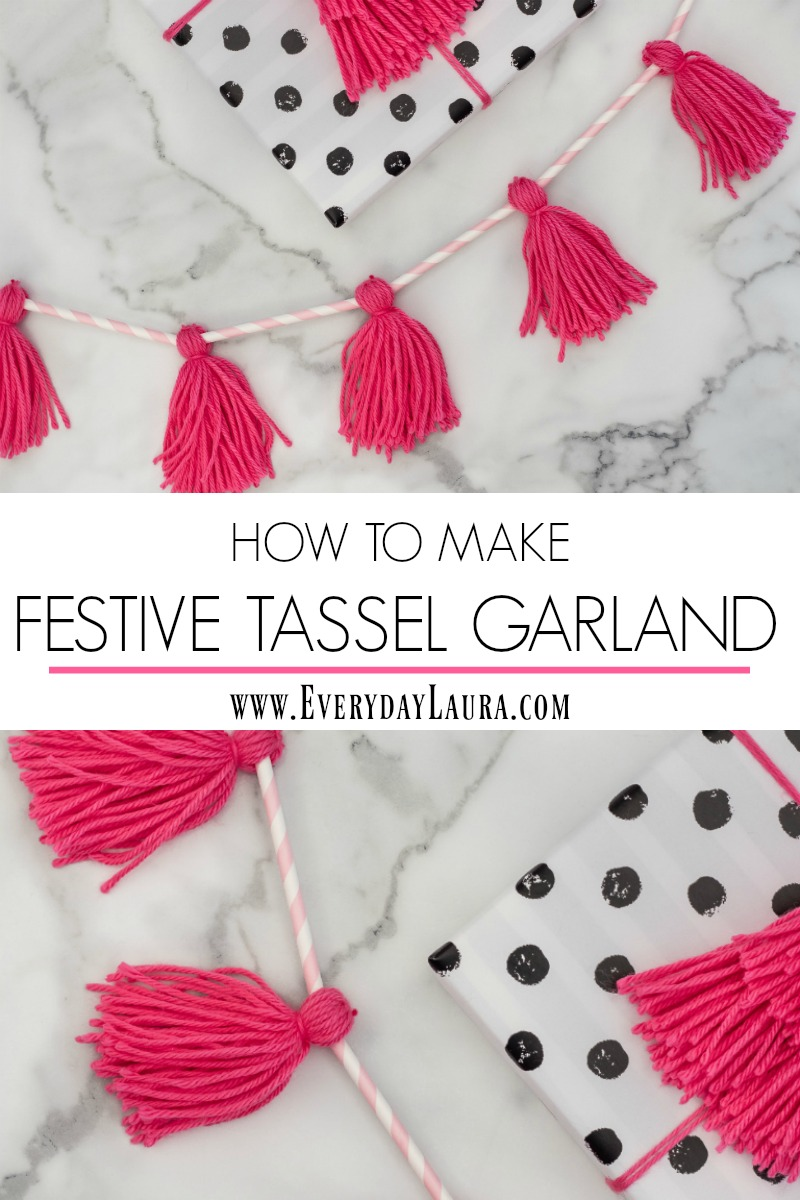 How to make tassel garland with yarn and straws.