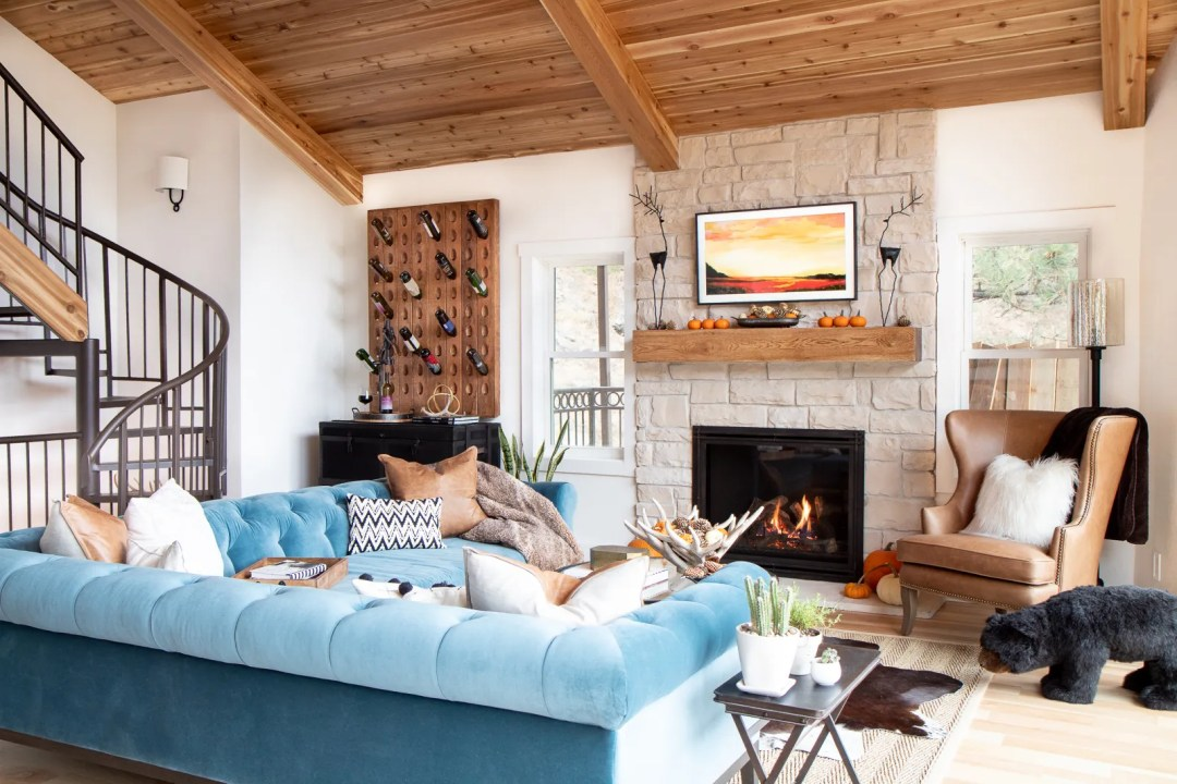 Cabin stone fireplace and cedar ceiling
