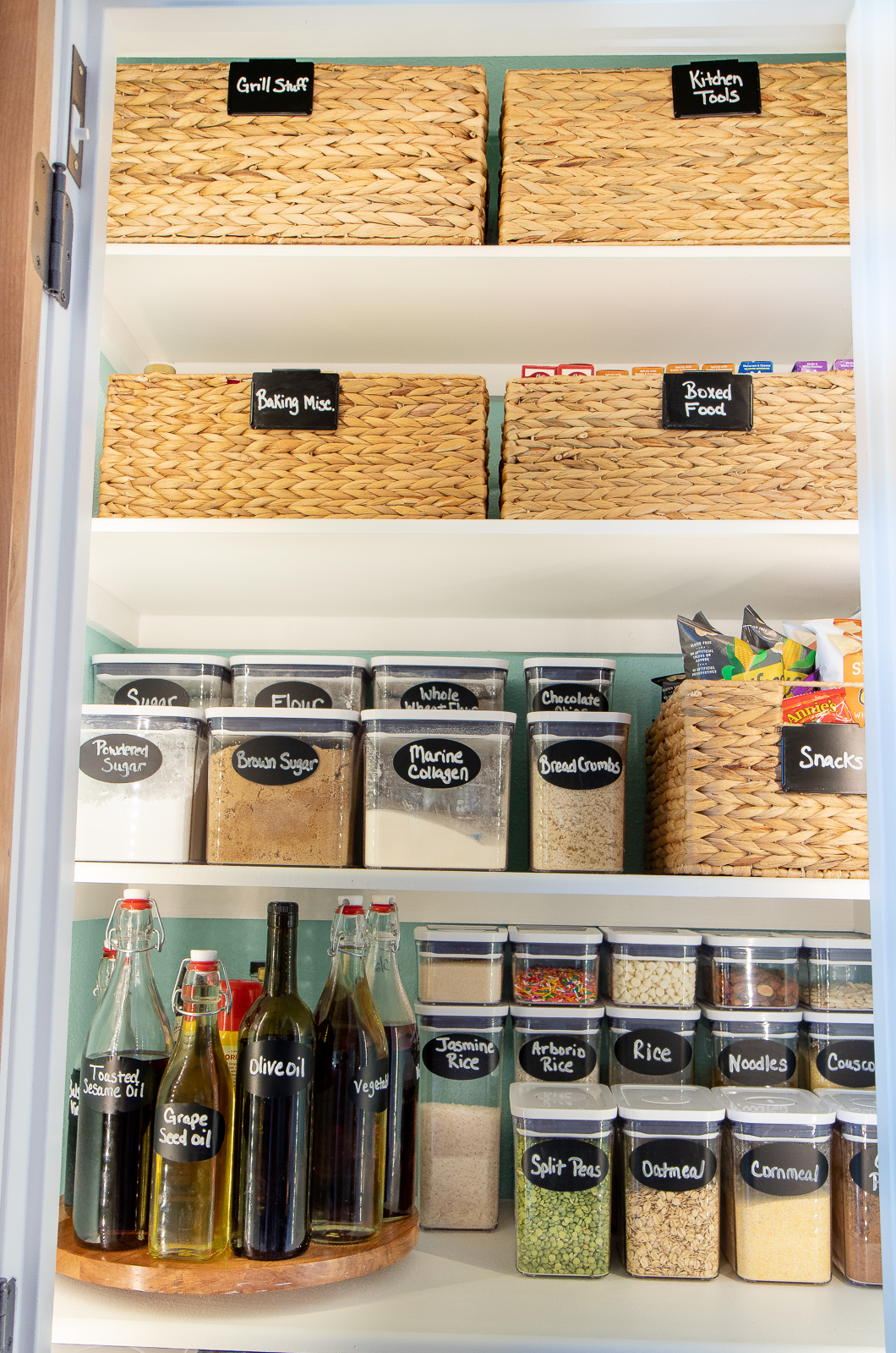OXO food canisters in pantry