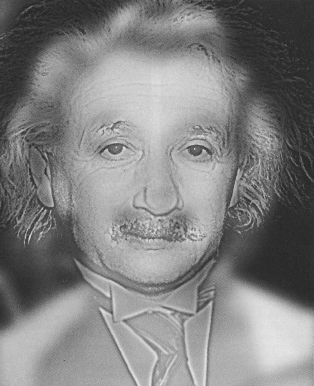 When you look at the image above, whose face do you see? At normal screen viewing distance you should see the face of the great scientist Albert Einstein. Now squint your eyes or take a few steps back grom the image. Does a certain Hollywood personality pop into view? The Marylin Einstein hybrid image was created by Dr. Aude Oliva for the March 31st 2007 issue of New Scientist magazine.