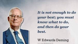 """It is not enough to do your best; you must know what to do and then do your best"" - Deming"