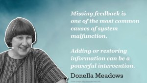 """Missing feedback is one of the most common causes of system malfunction. Adding or restoring information can be a powerful intervention"" - Donella Meadows"