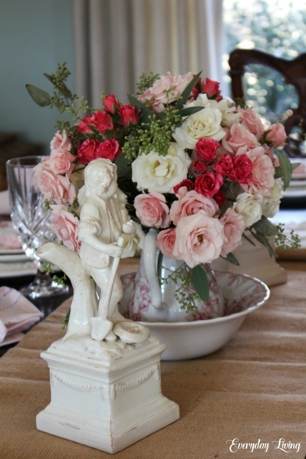 Simple Valentine tablescape using spray roses as the centerpiece