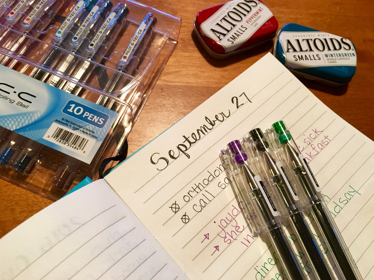 on bullet journaling, great pens and altoid tins