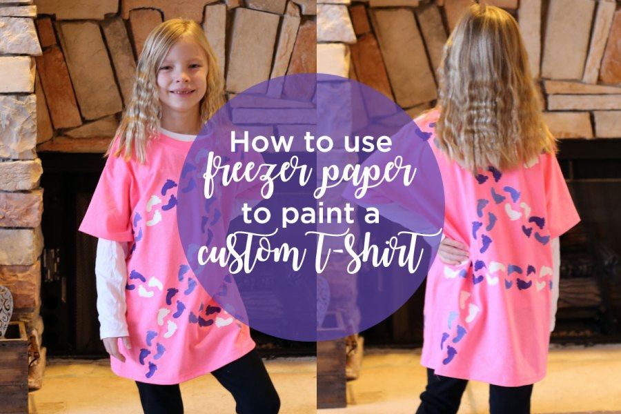 How to use freezer paper to paint a custom T-shirt for the 100th day of school