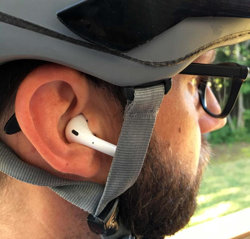 AirPods with Bike Helmet