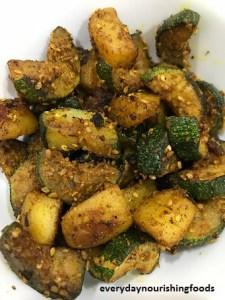 Zucchini and Aloo fry