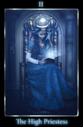 The High Priestess appears in times of spiritual growth and achievement. She sits on the throne of the moon and delivers knowledge and connection to the cycles of the earth. She is the gatekeeper of secrets and can indicate hidden things that will come to light and encourages you to trust your instincts.