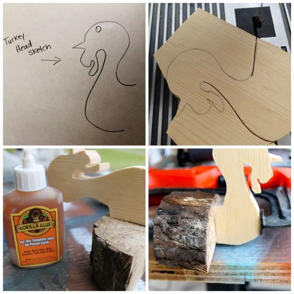 Turkey Head sketch, cutting, and gluing