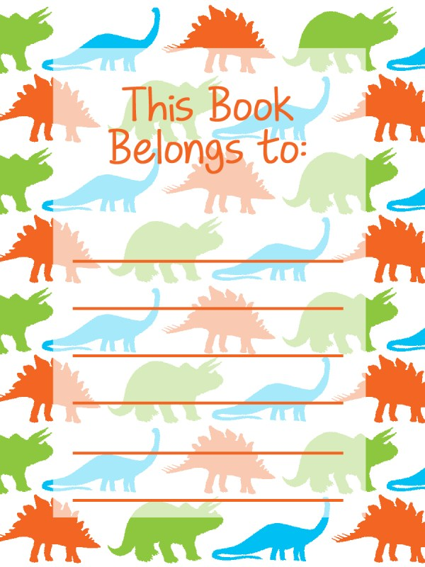 DIY Modern Holiday for Everyday Party Magazine Back to School Printable Bookplates Dinosaurs