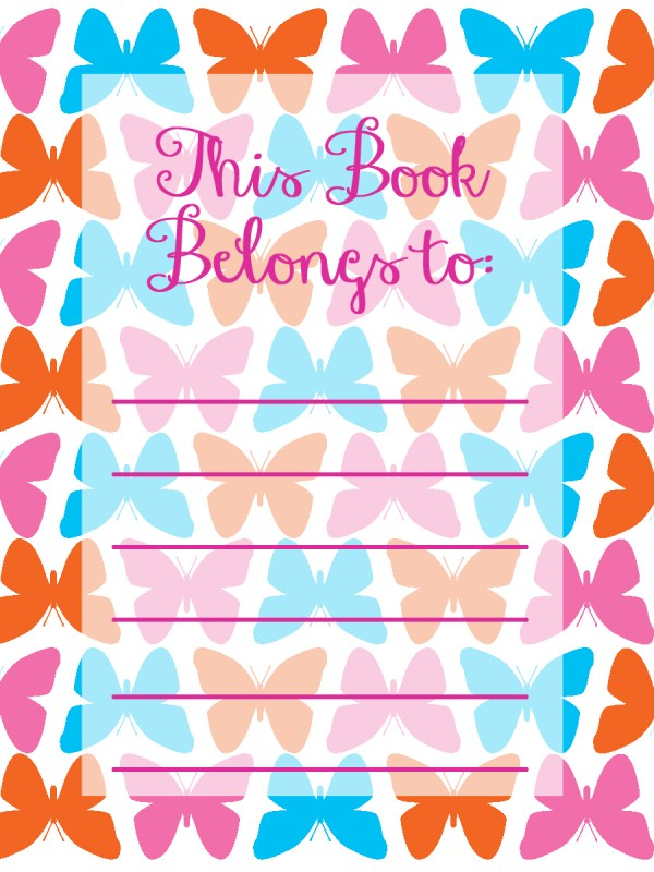 DIY Modern Holiday for Everyday Party Magazine Back to School Printable Bookplates Butterfly