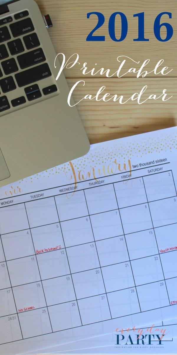 Everyday Party Magazine Free Printable 2016 Calendar