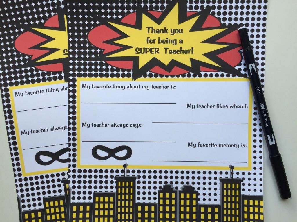 Super Hero Teacher Appreciation Printable Set