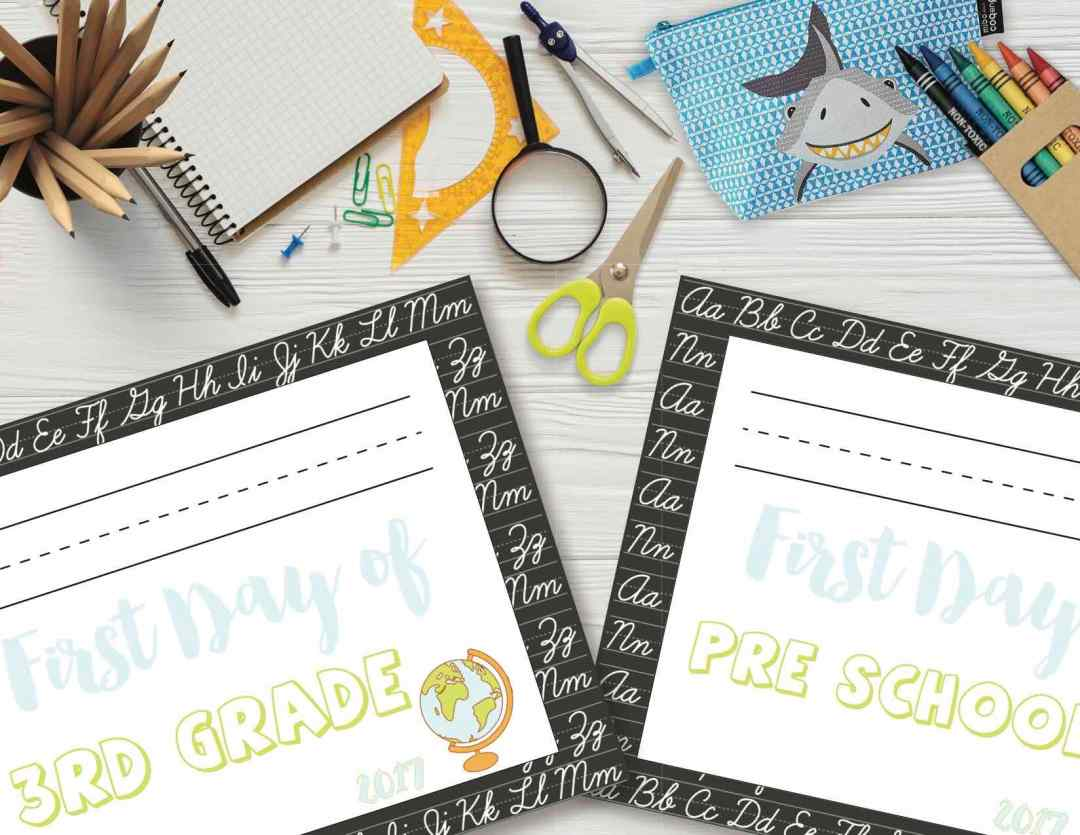 Back to School Signs 2017, Free Printables, Free Printable, Freebies, Freebie, back to school, First Day of School Sign
