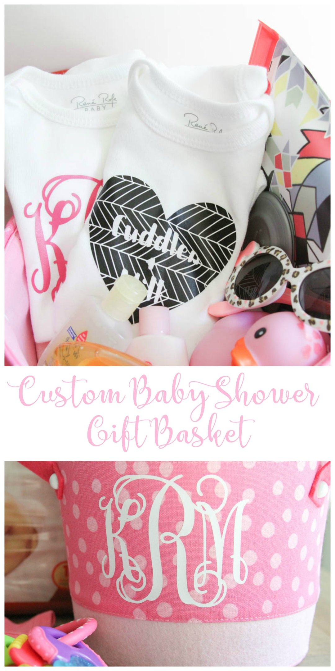 Everyday Party Magazine Custom Baby Shower Gift Basket #CricutMade #BabyShower #ThatsDarling #DIYGiftIdea