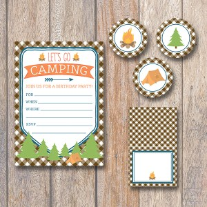 Camping Theme Party Decorations and Invitations