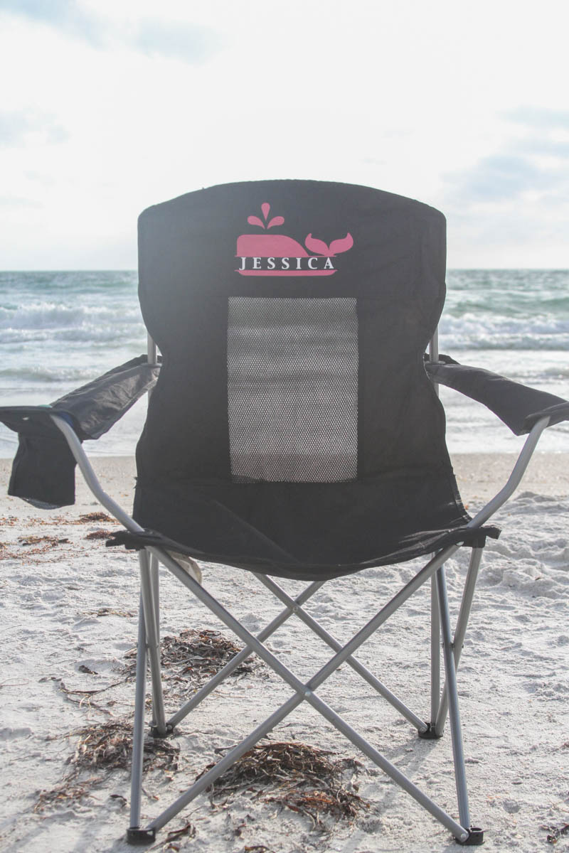 Everyday Party Magazine Custom Camp Chairs #CricutMade #CampChair #DIY #VineyardVines #mongram