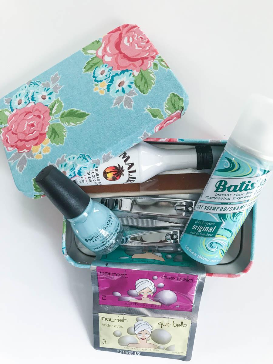Fabric Covered Box Nail Kit Dry Shampoo Mini Bar