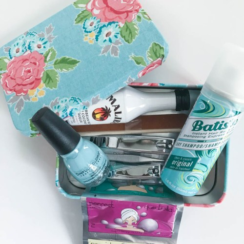 Fabric Covered Box Nail Kit Dry Shampoo Mini Bar