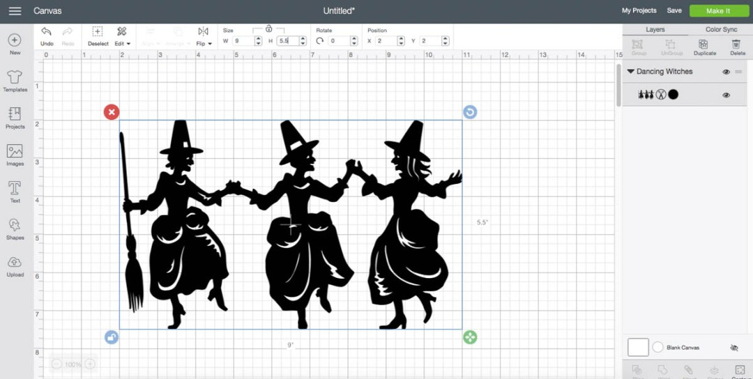 Cricut Design Space Screen Shot Dancing Witches