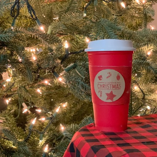 Christmas Tree Coffee Cup Buffalo Check