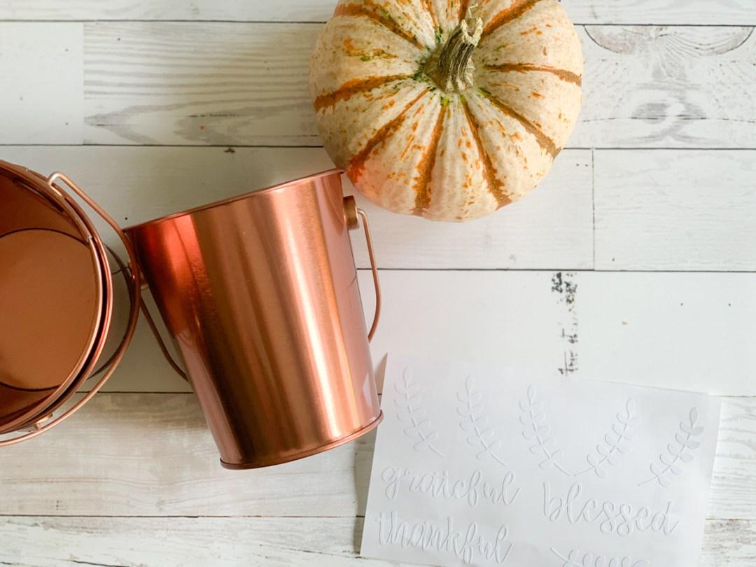 Copper Bucket White Pumpkin