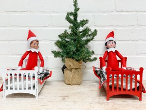 Elf on a Shelf in beds Christmas Tree