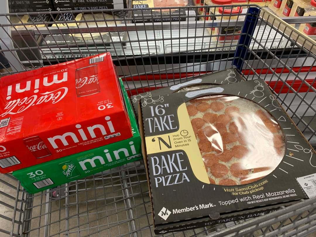 Coca-Cola Mini Cans Sprite Mini Cans Member's Mark Take N' Bake Pizzas Sam's Club Cart