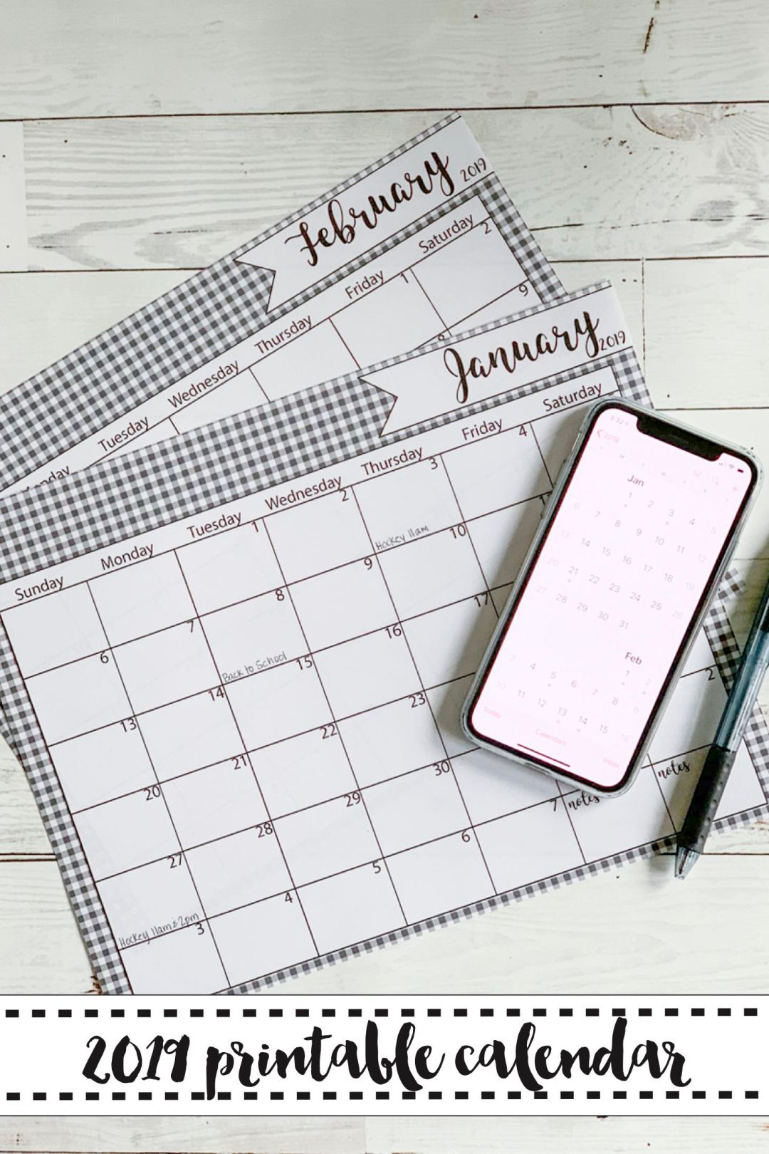 Calendar iPhone XS Pen Farmhouse Table