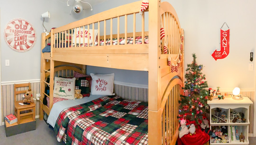 Pottery Barn Kids Bunk Beds with holiday bedding