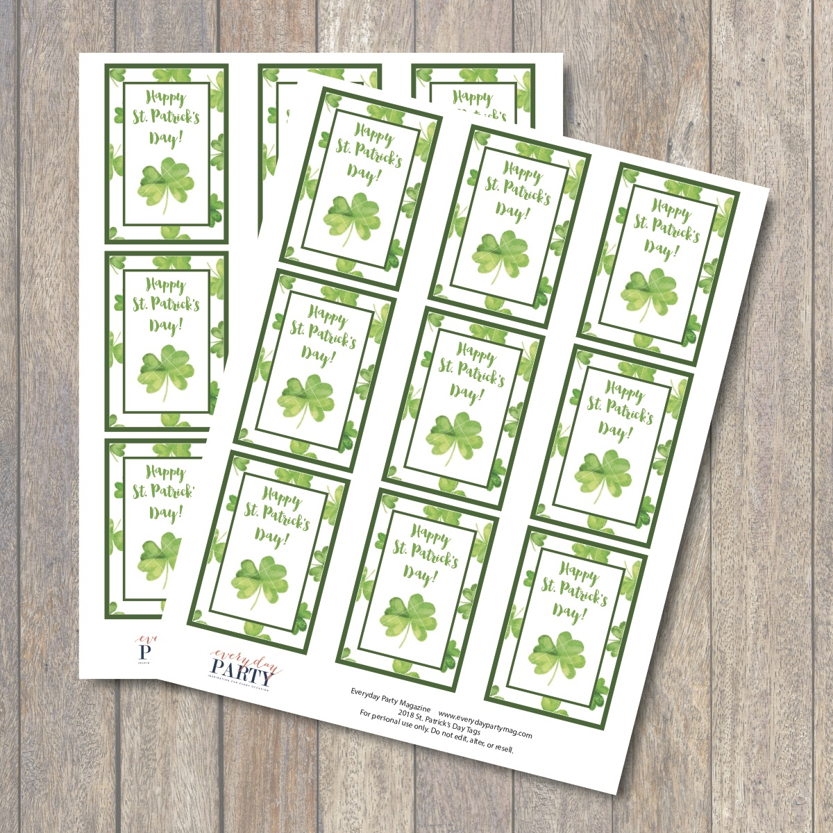 image about St Patricks Day Printable titled Delighted St. Patricks Working day Printable Tags - Day by day Get together Journal