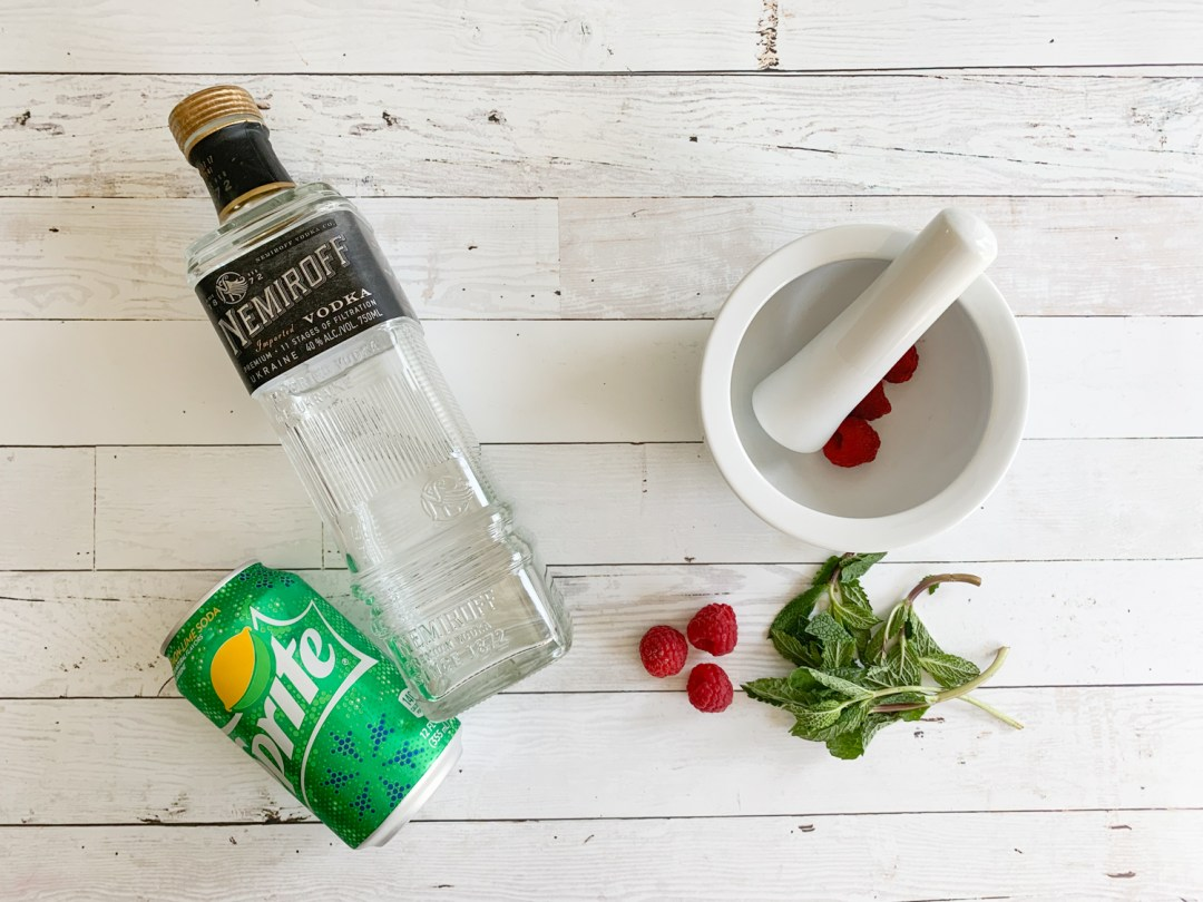 Sprite Vodka Mortar and Pestle Fresh Berries Fresh Mint
