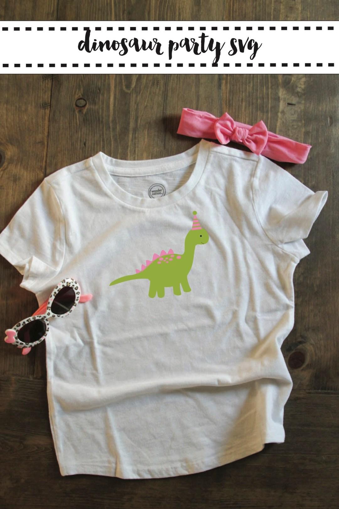 Pink Party Hat Dinosaur Shirt