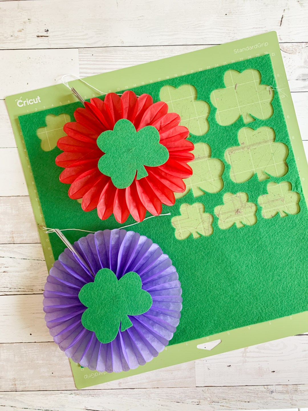 Colorful Rosettes Cricut Cutting Mat Felt Shamrocks