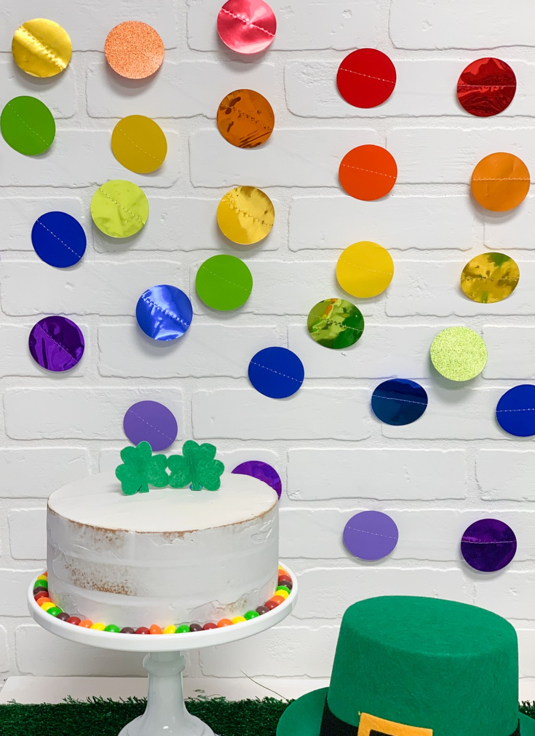 Rainbow Polka Dot Banner St. Patrick's Day Cake St. Patrick's Day Party