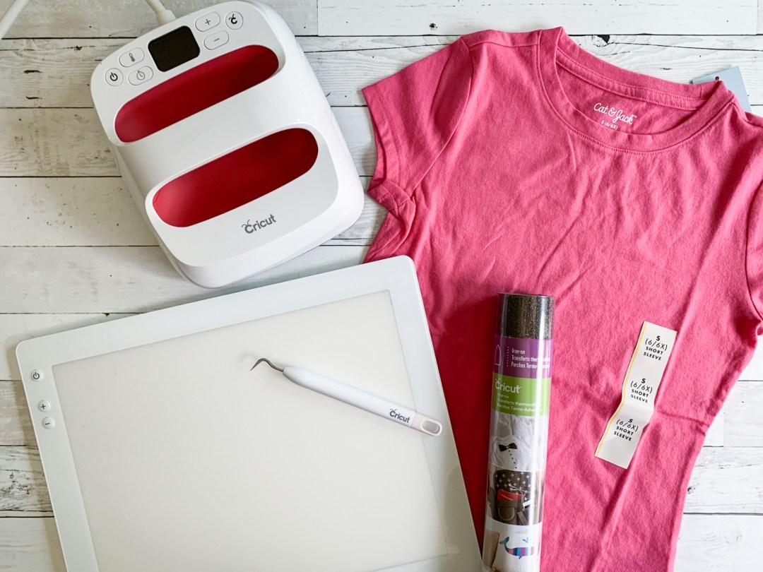 Cricut EasyPress 2 Cricut BrightPad Cricut Iron On Cricut Tools Pink T-Shirt