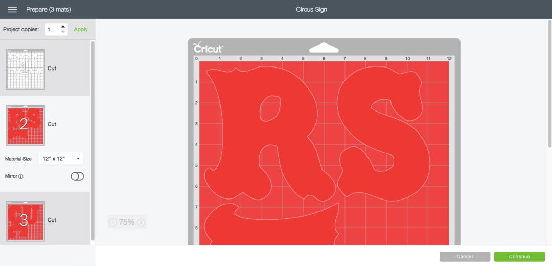 Cricut Design Space Cutting Screen Red