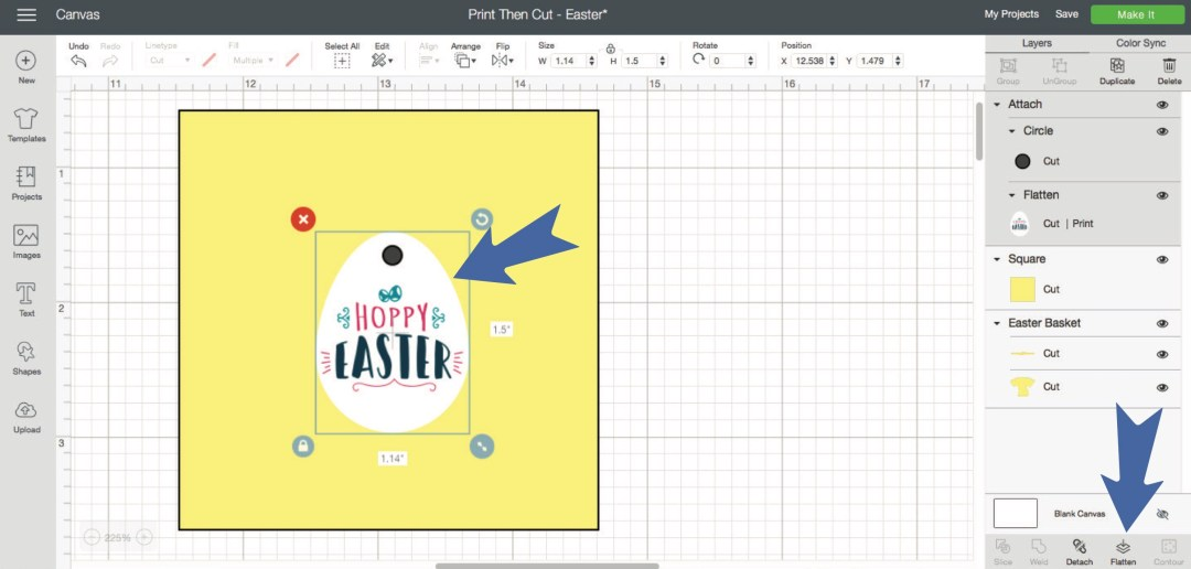 Cricut Design Space Screen Shot Easter Egg on Yellow Background