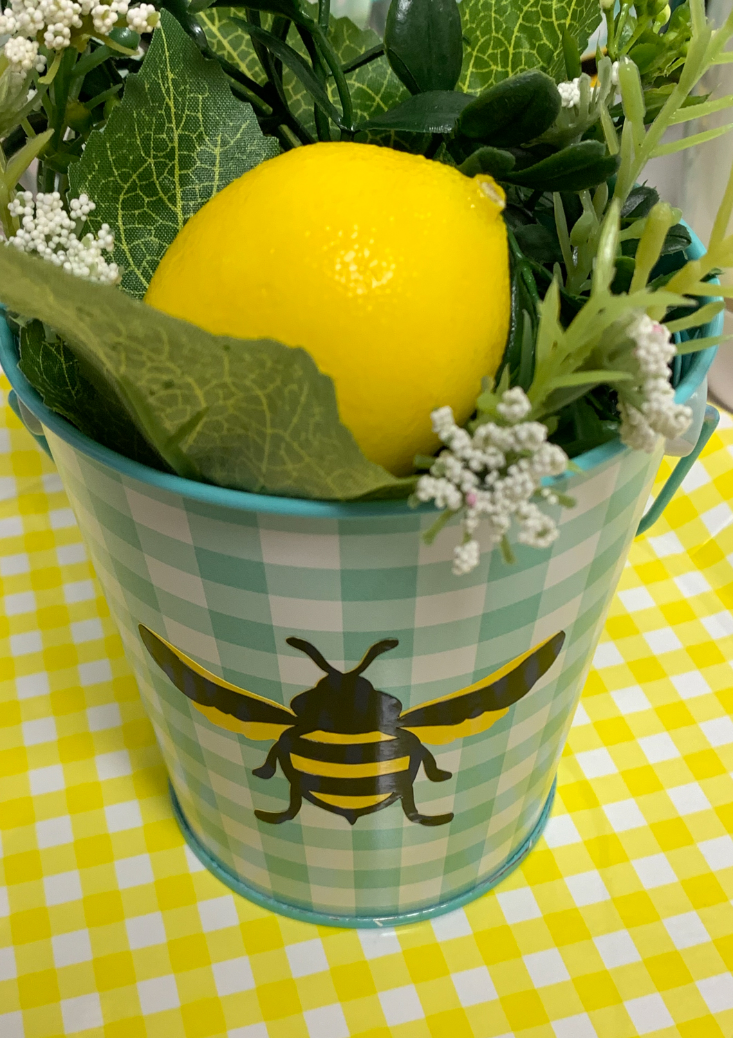 Martha Stewart Celebrations Gingham Bucket Lemon