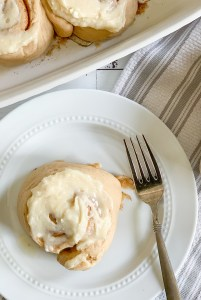 Cinnamon Roll on a pate Fork