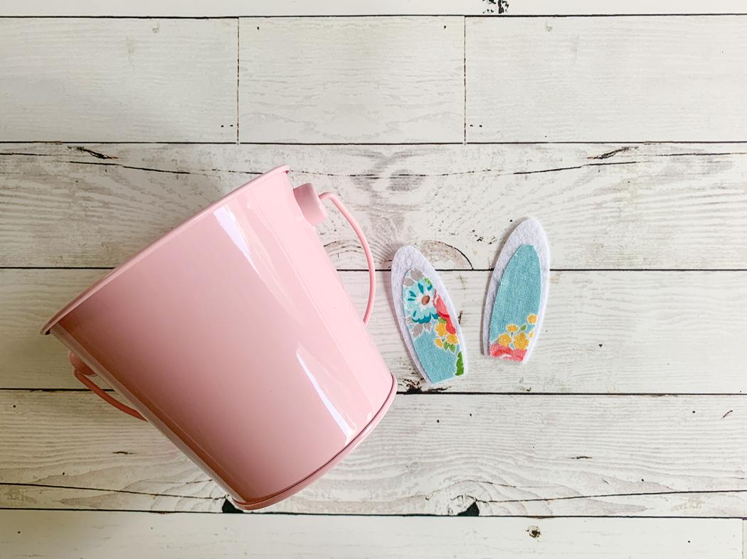 Pink Bucket Floral Bunny Ears