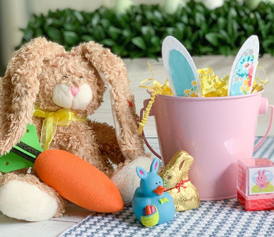 Easter Treats Brown Bunny Pink Easter Bucket