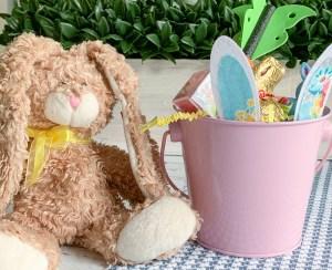 Brown Stuffed Bunny Pink Easter Bunny Bucket