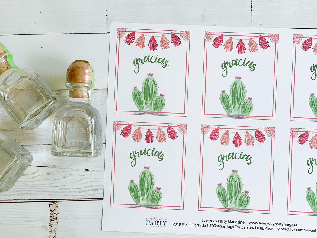 Gracias Cactus Tags Patron Mini Bottle