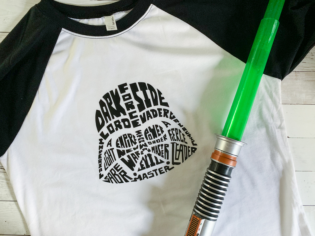 Darth Vader Typography Raglan Light Saber