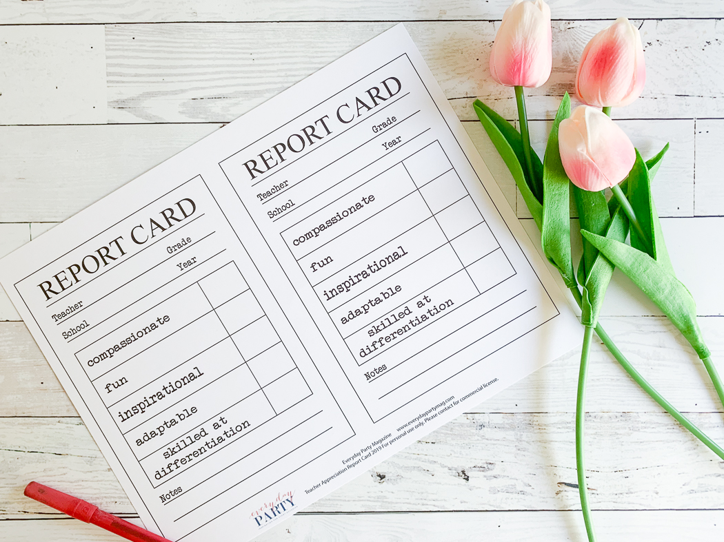 Printable Report Card Red Pen Tulip Stems