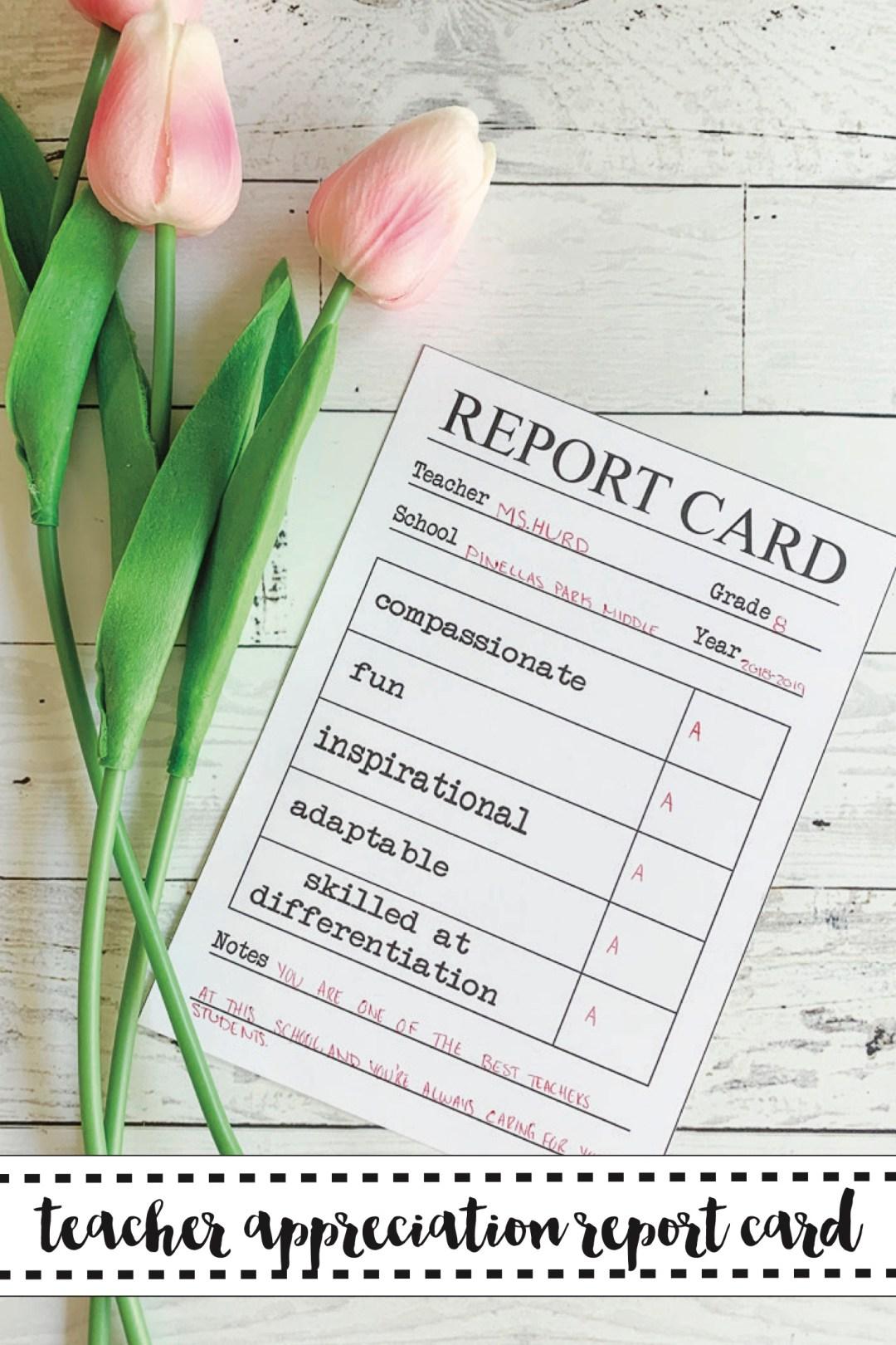 Teacher Appreciation Printable Card Tulips