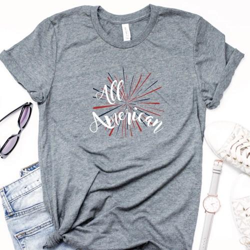 Grey Patriotic Shirt Sunglasses Watch Sneakers