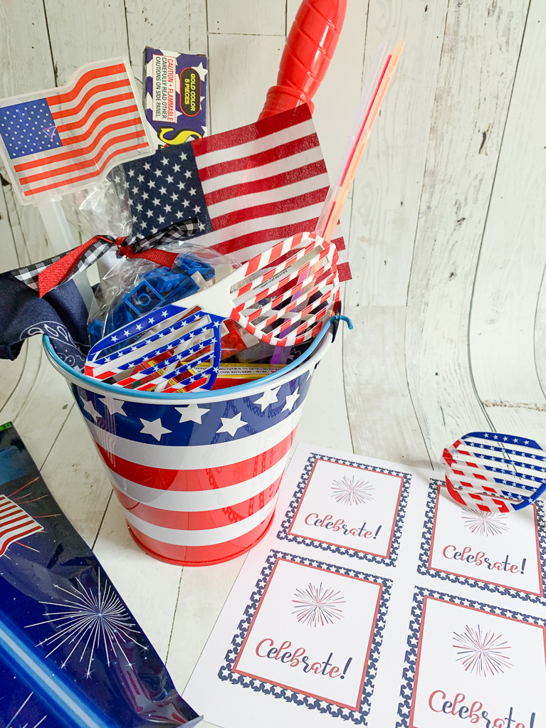 American Flag Bucket Sunglasses Printable Tags
