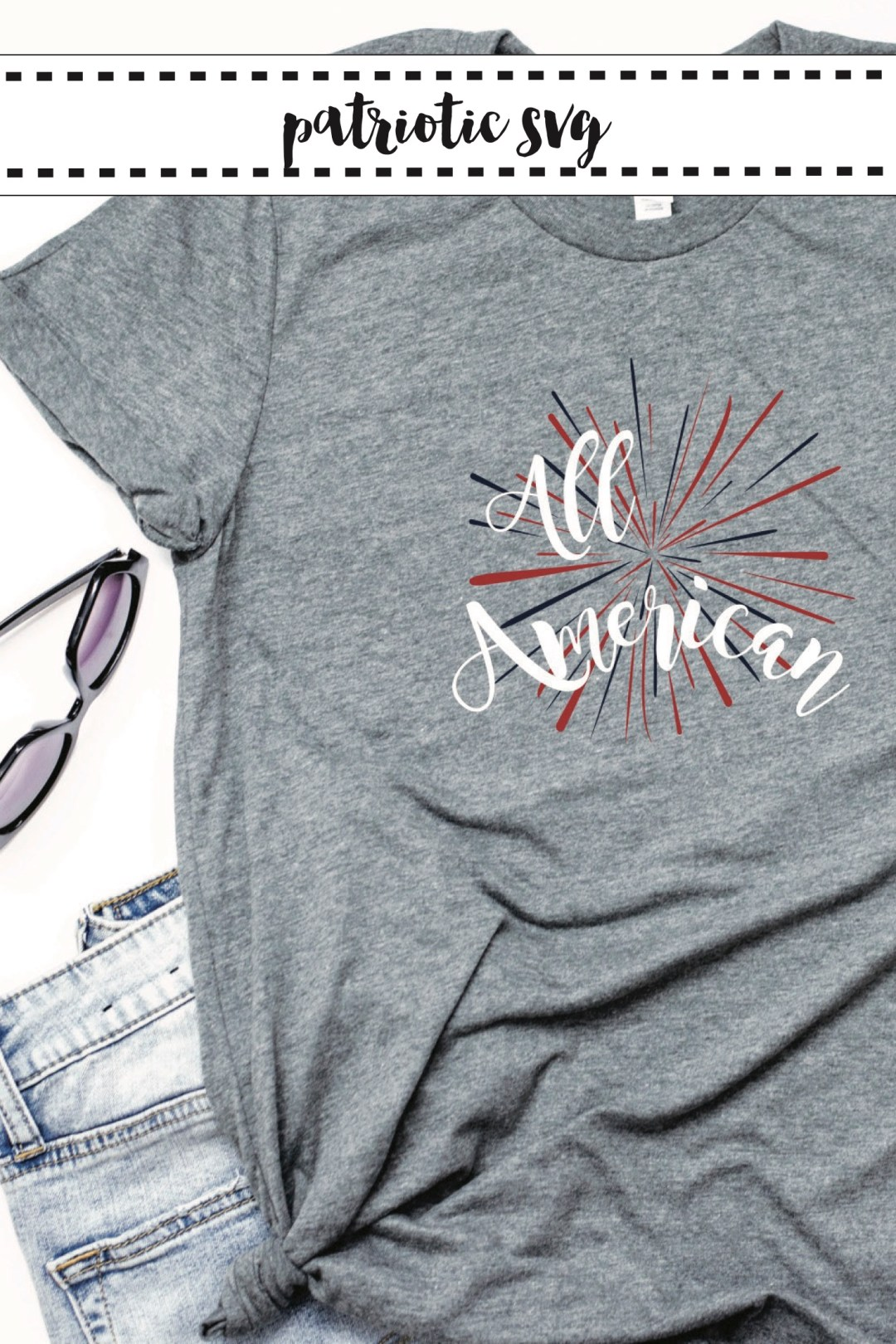 Fourth of July Shirt Jean Shorts Sunglasses